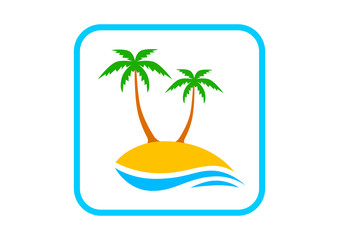 Island with palm trees on white background