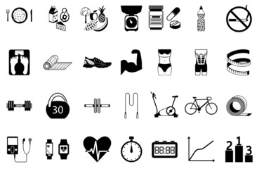 Fitness sport and health silhouette icons set.