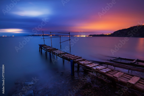 Long time exposure landscape with lake after sunset