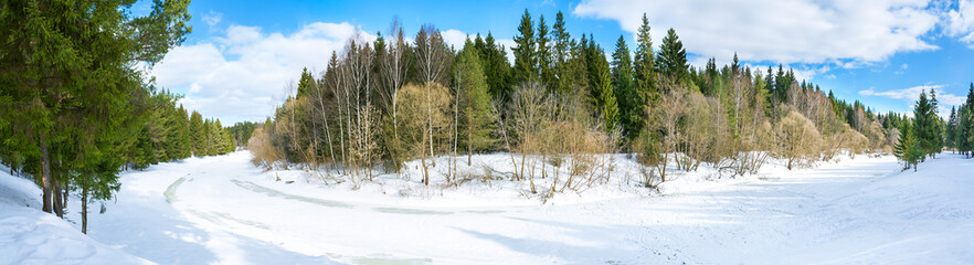 panorama spring landscape with the river and the forest