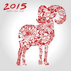Happy goat year chinese style-vector