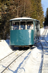 Funicular car on the way down