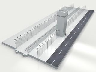 Sicurezza confini statali, filo spinato e torrette di guardia