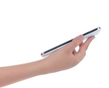 Hand holding a smart phone isolated on white - 77307881
