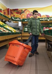 Child with a shopping car in a supermarket
