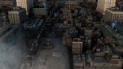 3d Futuristic architecture city concept