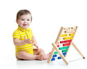 Baby playing with counter toy