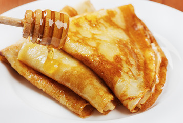 pancakes with honey syrup. crepe for pancake week or Shrovetide