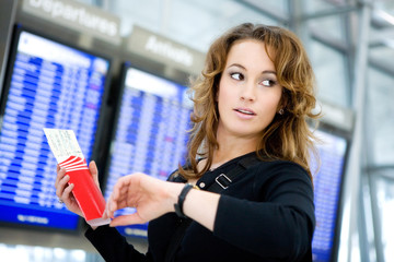 Travel: Woman With Airline Ticket Late For Flight
