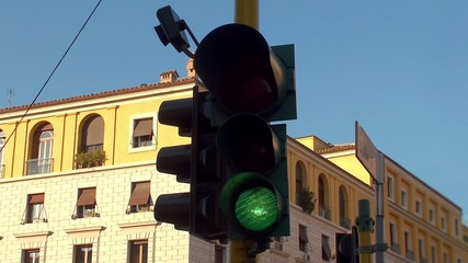 Traffic lights in Rome.