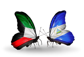 Two butterflies with flags Kuwait and Nicaragua
