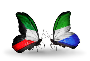 Two butterflies with flags Kuwait and Sierra Leone