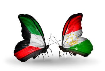 Two butterflies with flags Kuwait and Tajikistan