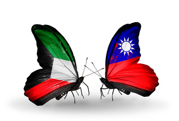 Two butterflies with flags Kuwait and Taiwan