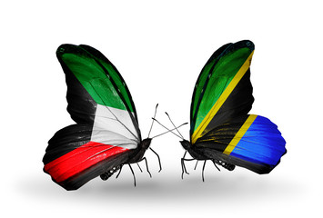 Two butterflies with flags Kuwait and Tanzania
