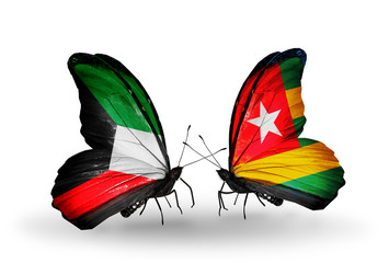 Two butterflies with flags Kuwait and Togo