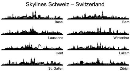 Skylines Städte Schweiz