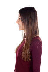 Profile of attractive girl looking at side