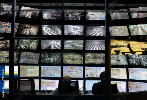 Leinwanddruck Bild security monitoring room