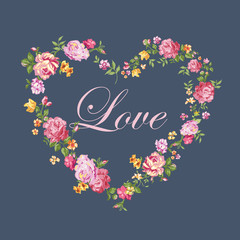 Vintage Floral Heart - for Valentine's Day - in vector