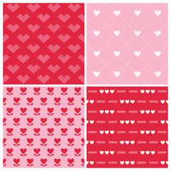 Valentine's Day Heart Patterns - 4 Seamless Backgrounds