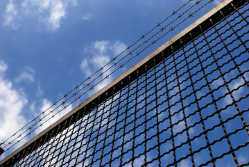 netting, fencing, wire, metal, barrier, limitation, air, danger,