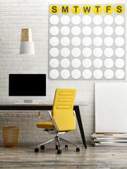 Loft office, mock up calendar on wall