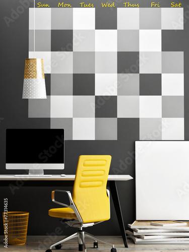 Mock up office, wall calendar background
