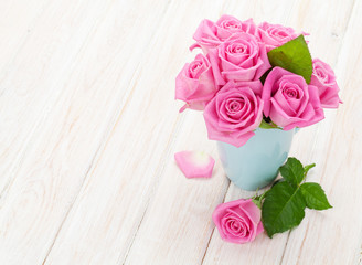Fresh spring pink roses bouquet