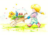 Girl with wheelbarrow full of flowers is going to her garden