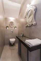 Designer mirror in luxury bathroom