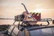 Leinwanddruck Bild - Music instrumental guitar car outdoor background