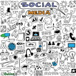 big set hand drawn illustration of social media