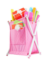 Textile container basket with colored paper for wrapping gifts i