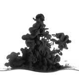 Splash of black ink in dropped into the water