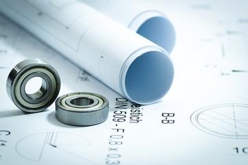 Konstruktion und Planung, technische Zeichnung und Kugellager