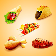 set icons food