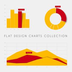 Set of vector flat design statistics charts and graphs