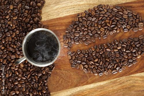 Deurstickers Cafe Heisser Kaffee und Kaffeebohnen