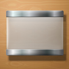 Vector frosted glass plate with metal holders, on wooden