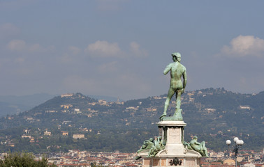 The statue of David looking over Florence