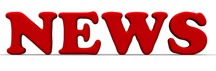Новости (news). Красное слово на белом фоне