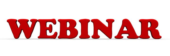 Вебинар (webinar). Красное слово на белом фоне