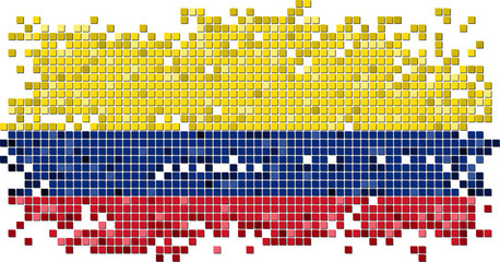 Colombian grunge tile flag. Vector illustration