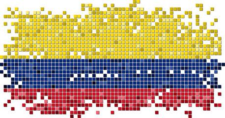 Colombian grunge tile flag. Vector illustration