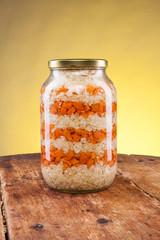 Salad jar on a wooden table