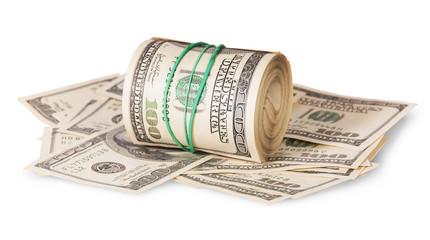 Horizontal roll on the hundred dollar bills