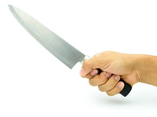Man hand with kitchen knife.