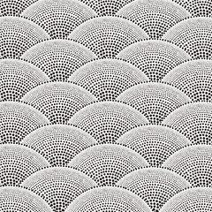 Black dot fan shape background.