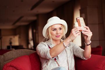 Pretty Smiling Woman Taking Selfie Photo
